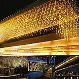 Cortina de luces LED, 5 m, 216 ledes, 8 modos, luz blanca cálida, cortina de luces, cadena de luces para exterior, interior, decoración de dormitorio, decoración de fiesta
