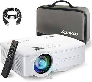 プロジェクター 小型 4500ルーメン AZMKOO スマホに直接接続可能 ホームシアター 1080pフルHD対応 HDMI/USB/SD/AV/VGA対応 HDMI/AVケーブル/リモコン/収納ケース付属