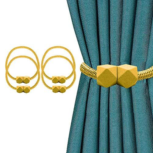 Tauras 4er Pack Magnetvorhang Raffhalter Vorhangclips Seilrückhaltevorhänge Webhalter Schnallen mit starkem, haltbarem Magneten für das Home Office Dekorativ (Gold)