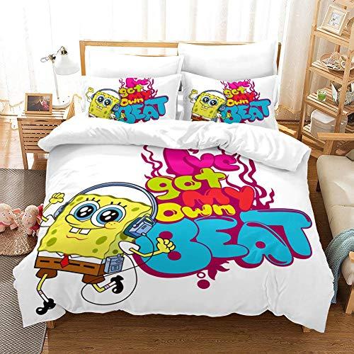 299 TEWMN Spongebob Squarepants Bettbezug Bettwäsche Set - Bettbezug und Zwei Kissenbezug,Mikrofaser,3D Digital Print dreiteiliger Bettwäsche (HB19,Single 135x200cm)