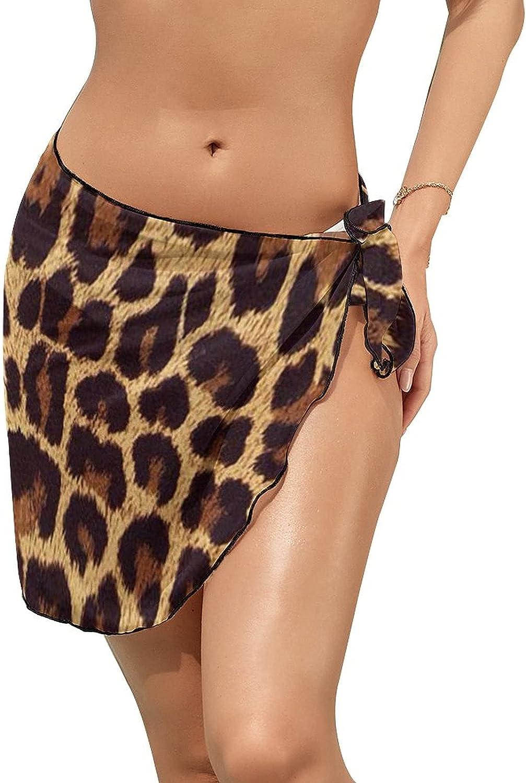 JINJUELS Women's Bikini Swimsuit Cover Up Leopard Print Summer Beach Wrap Skirt Pareo Sarong