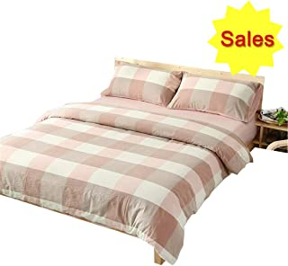 OTOB Girls Duvet Cover Cotton Pink White with 2 Pillow Cases Zipper Ties for Adults Women Bedroom Bed Set, Reversible Geometric Plaid Checkered Print, Teen Bedding Sets Collections Gift, Twin