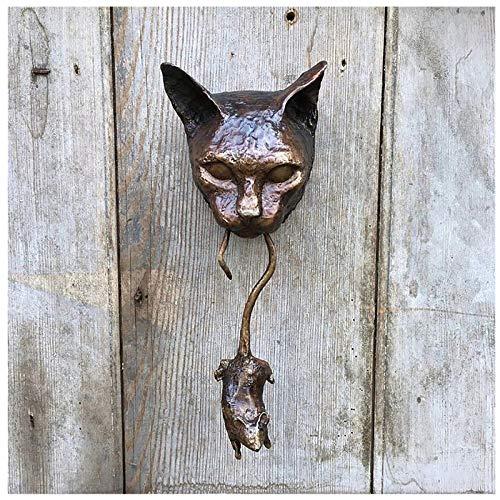 Blekii Door Knocker, Unique Cat and Mouse Front Door Entry Animal Knocker Gorgeous Cat & Mouse Wall Hangings Statue, Handmade Doorknobs with Swinging Mouse (Unique Cat and Mouse)