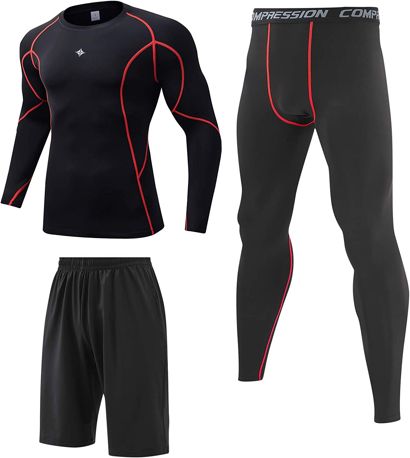 Milin Naco 3 Pcs Men's Workout Clothes Pant Industry No. 1 with Set Compression New popularity
