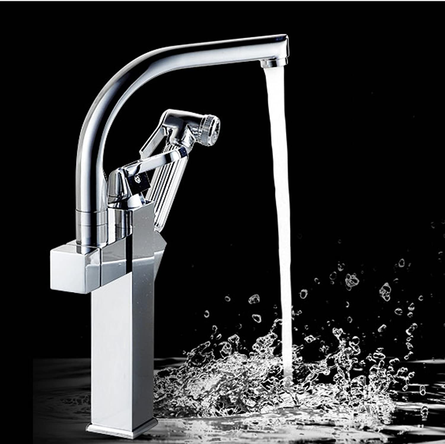 MEILING Pull-out Basin Hot And Cold Water Faucet Full Copper Belt Sprinkler redating Faucet gold