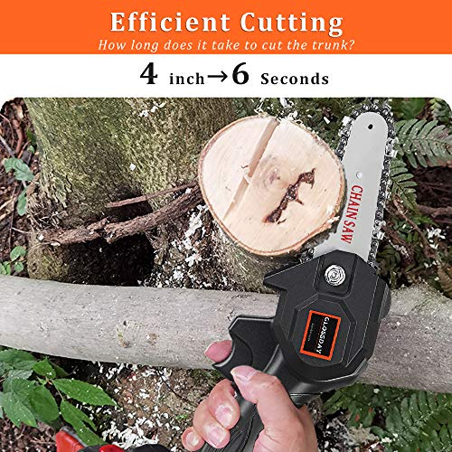GLOSSDAY Mini Chainsaw Hand-held Powered Electric Chain Saw, Small Cordless Battery Chain Saw, Pruning Shears Chainsaw for Courtyard Tree Branch Wood Cutting Garden Logging