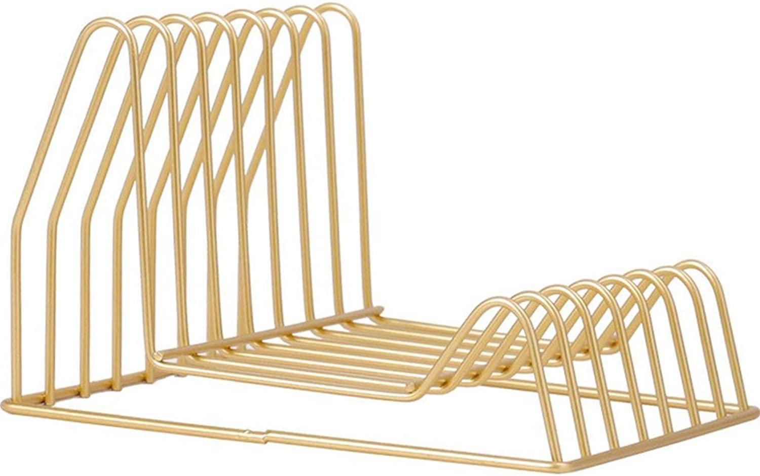 Shiyanghang Wrought Iron Bookshelf, Office Desk bookends, Simple Magazine Storage Rack, Creative Book Stand -Fashion Ideas (color   gold)
