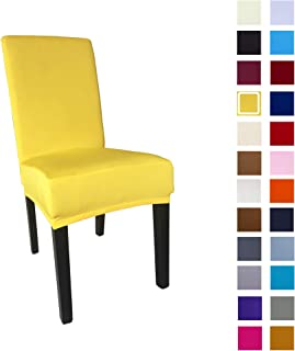 She Yang Spandex Fabric Stretch Removable Washable Dining Room Chair Cover Protector Seat Slipcovers Set of 4 (Bright Yellow, 4)