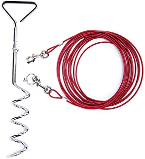 Relux Pet Dog Yard Stake Tie Out Cable 16 ft for Outdoor Yard and Camping,Medium to Large Dogs Up to 125 lbs(Red,18