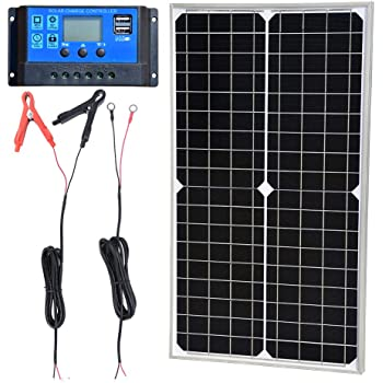 Amazon Com Tp Solar Solar Panel Kit 10w 12v Monocrystalline Trickle Battery Charger Maintainer 10a Charge Controller Cable With Alligator Clip O Ring Terminal For Car Rv Vehicle Marine Boat Off Grid