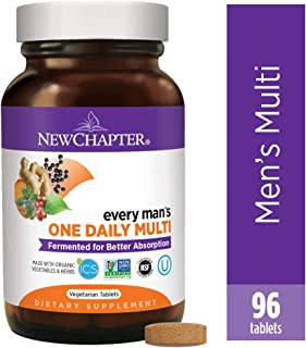 New Chapter Men's Multivitamin, Every Man's One Daily Fermented with Probiotics + Selenium + B Vitamins + Vitamin D3 + Organic Non-GMO Ingredients - 96 Count (Pack of 1) (Packaging May Vary)
