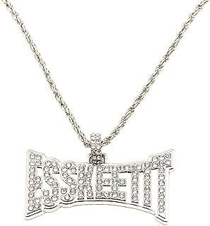 ESSKEETIT Letter Hip Hop Pendant Necklace for Men Women