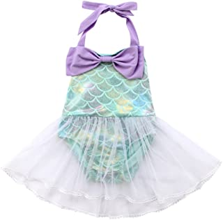 Baby Girls Sequins Mermaid Fish Scale Bodysuit Romper Jumpsuit Summer Sunsuit Outfits