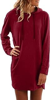 Women's Long Sleeve Pullover Drawstring Sweatshirt Casual Midi Hoodie Dress