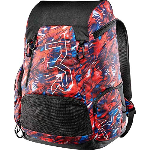 TYR Unisex's Alliance Team Backpack 45L, Mercury Rising Print-Red/Blue, ONE SIZE