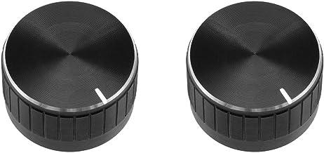 uxcell 2Pcs 30x17mm Aluminium Alloy Potentiometer Volume Control Rotary Knob Knurled Shaft Hole Black,for 6mm Diameter Sha...