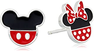 Sterling Silver Mickey and Minnie Mouse Enamel Stud Earrings