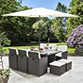 Bella Life 11 Piece / 10 Seater | PE Rattan Cube Table, Chair, Stool Dining Set | Garden Furniture (with Parasol, Grey) from AGTC Ltd