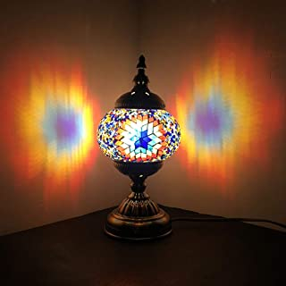 Turkish Mosaic Lamp NBHUZEHUA Unusua Vintage Stained Glass Moroccan Style Table Light Room Decoration Art Decor