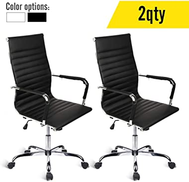 Elecwish Modern Office Executive Swivel Chair, High Back Adjustable, Tall Ribbed, Pu Leather, Wheels Arm Rest Computer, Chrome Base, Home Furniture, Conference Room Reception (Black) Set of 2