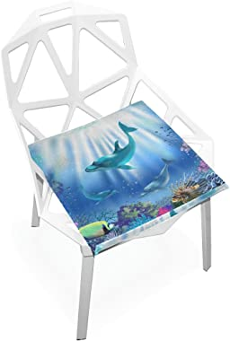 DOENR Sea World Seat Cushion Chair Cushions Covers Set Decorative Indoor Outdoor Velvet Double Printing Design Soft Seat Cush