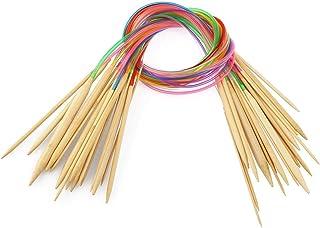Pixnor 18paires 80cm circulaire Aiguilles à tricoter à double pointe avec tube en bambou Crochet crochets Kit 2.010.0mm