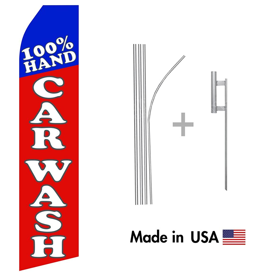 wall26 100% Hand Car Wash Econo Flag | 16ft Aluminum Advertising Swooper Flag Kit with Hardware