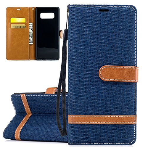 ISAKEN Custodia Galaxy Note 8, Flip Cover per Samsung Galaxy Note 8,Contrasto Collare PU Pelle Case Cover Flip Portafoglio Custodia con Supporto di Stand/Carte Slot/Chiusura, Marrone+Blu Navy