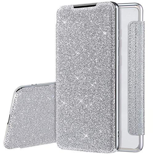 Coque pour Samsung Galaxy A20/A30 Cuir PU Housse à Rabat Portefeuille Étui de Bumper Folio à Clapet pour Galaxy A20 Paillette Strass Brillante Glitter Etui Flip Case Wallet Coque de protection, Argent