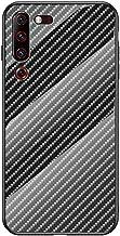 EUDTH Lenovo Z6 Pro Case, Luxury Carbon Fiber Mix Tempered Glass Hard Case Shockproof Protective Case Cover for Lenovo Z6 Pro - Black