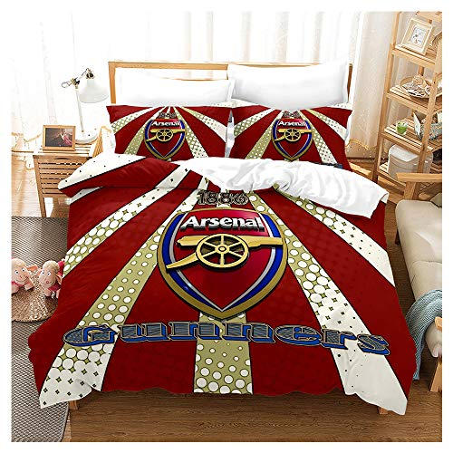 HOXMOMA Arsenal Football Club Duvet Cover, 3D Football Fans Bedding Set, Arsenal Logo Decorative Quilt Covers and Pillowcases for Kids & Adults,Red,US 228×228 cm