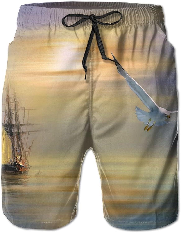 Beach Pants Seagull Surrealism Paintings Men's Workout Gym Short Shorts Pockets Sweatpants Waist Tension Design