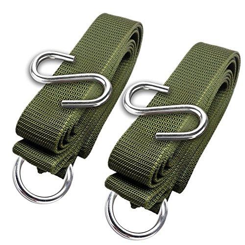 Wuzmei Lot de 2 sangles de hamac résistantes pour hamac de camping avec 2 crochets en S et 2 boucles en O pour une installation facile et rapide, capacité de 100 kg, convient aux arbres.