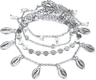 Ronshin Fashion 4Pcs Charms Thick Chain Beads Bracelet Round Metal Shell Anklet Set
