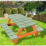 LEWIS FRANKLIN - Cortina de ducha retro de lujo para picnic con forma de círculos, con bordes elásticos, 70 x 72 cm, juego de 3 piezas para mesa plegable
