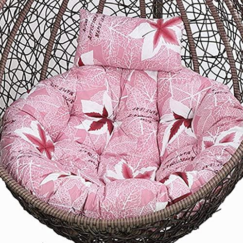 Cojín de repuesto para silla de huevo, grueso para colgar hamaca con funda lavable, para colgar al aire libre, solo cojines para silla de columpio Papasan, cojines de hoja de arce