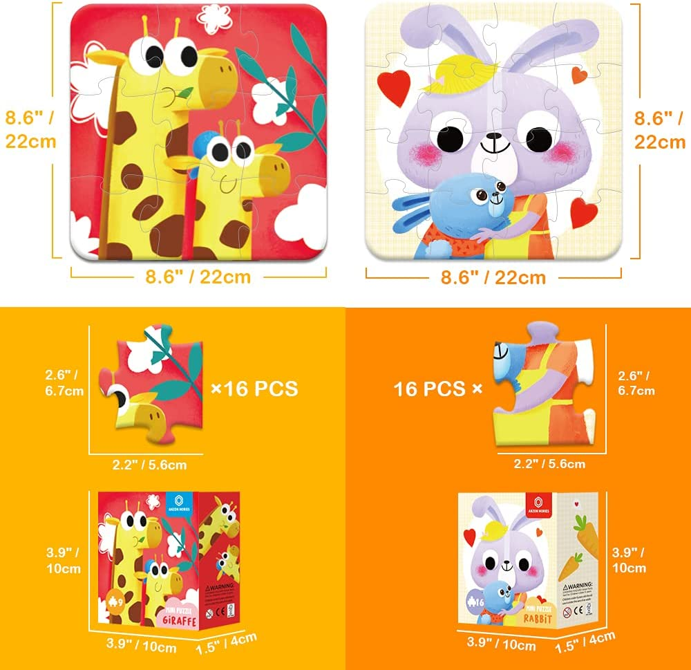 Beginner Level 1 8.6 x 8.6 Original Design Small Floor Puzzle for Toddler Children Boys and Girls Preschool Learning Jigsaw Mini Animal Puzzle Turtle 9 Pieces for Kid Age 3-5 Years Old