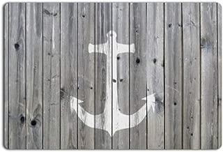 Libagoe Nautical Anchor Ocean On RusticBarnWoodBoard Antique Floor Mat USA Farm Life Style Grey Wood Print Entrance Doormat for Home Decor (18