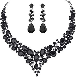 Youfir Bridal Austrian Crystal Necklace and Earrings Jewelry Set Gifts fit with Wedding Dress