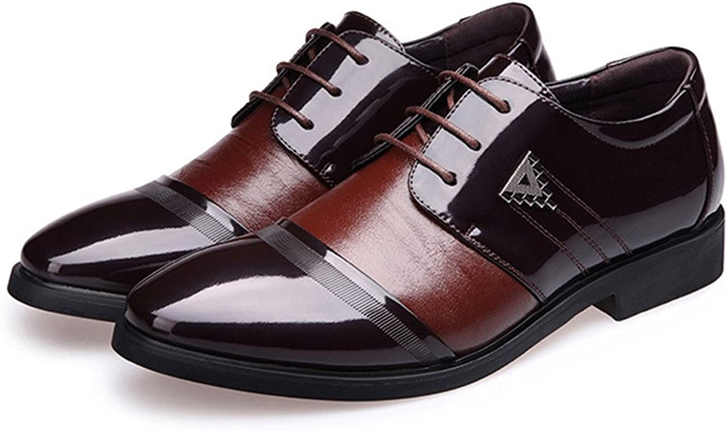 Men's Formal Business shoes Smooth PU Leather Splice Upper Lace Up Breathable Lined Oxfords (color   Brown, Size   CN24)