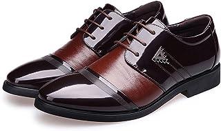Sunny&Baby Zapatos de los Hombres de Negocios Smooth PU Leather Splice Vamp Lace Up Lined Block Heel Oxfords Resistente a ...