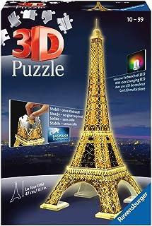 Ravensburger 12579-3D Pussel byggnader med ljus Eiffel Tower Paris - 216 bitar - tredimensionell bygglädje & inget lim beh...