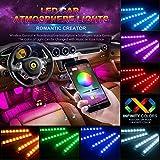 Striscia LED Auto Interni - 4pcs 48 LED Controllo APP USB - Musica Attivata Atmosfera Decorazione