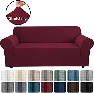 H.VERSAILTEX Stretch Slipcovers Sofa Covers for 3 Cushion Couch Sofa Covers for Living Room Sofa Slipcover Furniture Protector Spandex Jacquard Fabric Small Checks (Fit 72-96 Inches Sofa: Burgundy)