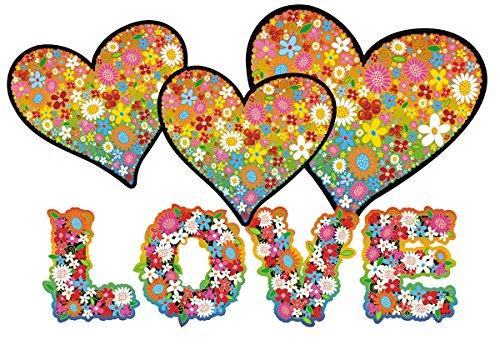 Autoaufkleber, Blumendesign: Love and Peace 09