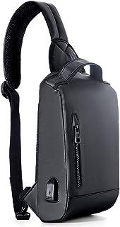 新品 ボディバッグ ワンショルダーバッグ メンズ USBポート付き 肩掛け 斜め掛け 実用性 便利 軽量 大容量 (ブラック, 30cm*15cm)