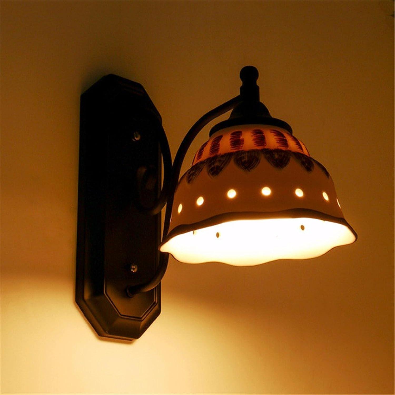 Modern LED Wandleuchte LED koreanische keramische Nachttischlampe Wohnzimmer Schlafzimmer Studie Wandlampe Vintage Retro Café Loft Bar Flurlampe, Wandlampe Upaus Aluminium für Flur Korridor.