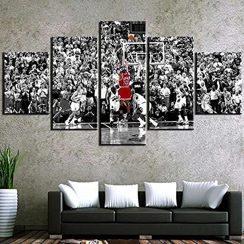 Decoracion Salon 5 Piezas de Arte Marco,Moderno HD sobre lienzos Michael Jordan Baloncesto Deportes impresión Cuadro Usado para Hogar Oficina Regalo, Tamaño Total (H-80cmxM/B-150cm)