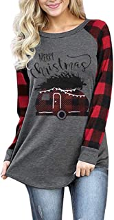 Women Merry Christmas Print Car Plaid Tee Raglan Top Casual Long Sleeve T-Shirt