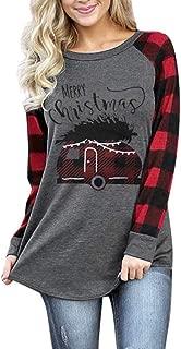 Nevera Christmas Womens Raglan Shirts Long Sleeve Crew Neck Plaid Sweatshirts Fall Tunic Golden Reindeer Tops